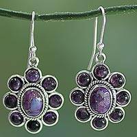 Amethyst flower earrings, 'Purple Blossoms' - Amethyst and Purple Composite Turquoise Dangle Earrings