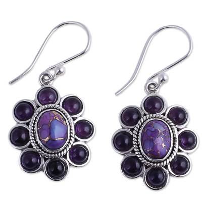 Amethyst and Purple Composite Turquoise Dangle Earrings