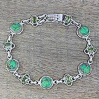 Peridot link bracelet, 'Glistening Green' - Peridot and Green Composite Turquoise Link Bracelet