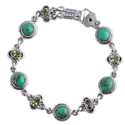 Peridot and Green Composite Turquoise Link Bracelet