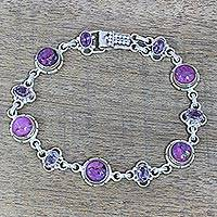 Peridot link bracelet, 'Purple Delight' - Amethyst and Purple Composite Turquoise Link Bracelet