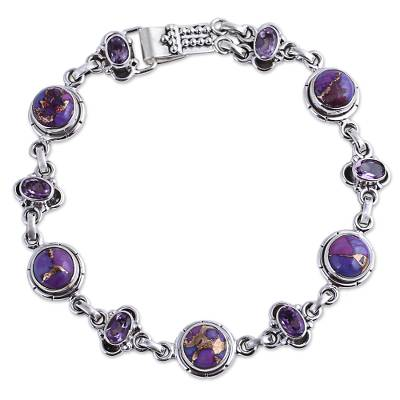 Amethyst and Purple Composite Turquoise Link Bracelet