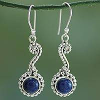 Lapis lazuli dangle earrings, 'Marina' - Hand Crafted Indian Lapis Lazuli Dangle Earrings