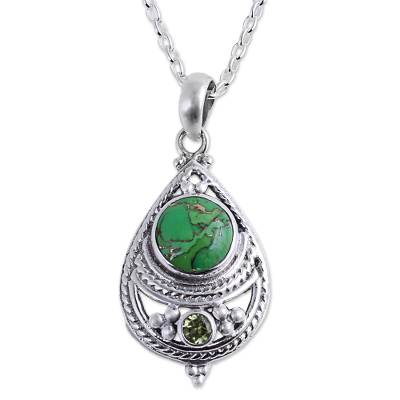 Peridot and Composite Turquoise Pendant Necklace from India