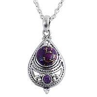 Amethyst pendant necklace, 'Mesmerizing Sphere' - Amethyst and Composite Turquoise Pendant Necklace from India