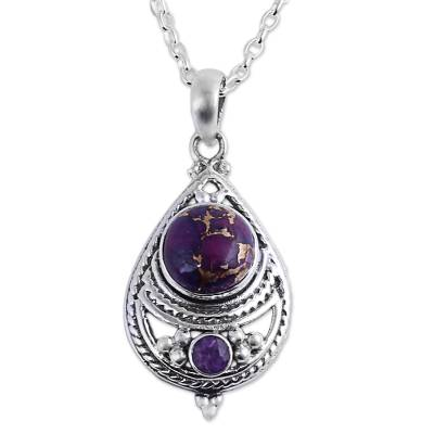 Amethyst and Composite Turquoise Pendant Necklace from India