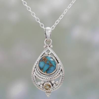 Citrine pendant necklace, 'Mesmerizing Sphere' - Citrine and Composite Turquoise Pendant Necklace from India