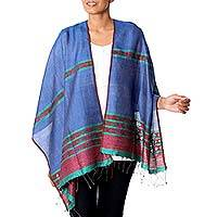 Jamdani silk shawl, 'Damaru in Blue' - 100% Silk Hand-Woven Shawl with Jamdani Weave in Grey