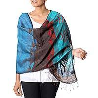 Jamdani silk shawl, 'Cool Nature' - Hand Woven 100% Silk Shawl from India in Teal and Red