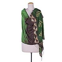 Jamdani silk shawl, 'Refreshing Nature' - Indian Shawl Hand Woven 100% Silk with Striped Patterns