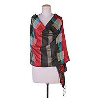 Jamdani silk shawl, 'Ruby Paradox' - Hand Woven 100% Silk Shawl Wrap with Striped Patterns
