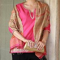 Jamdani silk shawl, 'Magenta Sophistication' - 100% Silk Shawl in Magenta on Beige Wrap from India
