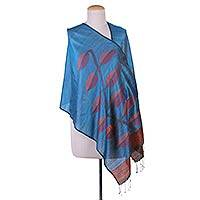 Jamdani silk shawl, 'Leaves on Blue' - Blue Jamdani Hand Woven Shawl with Leaf Motifs in 100% Silk