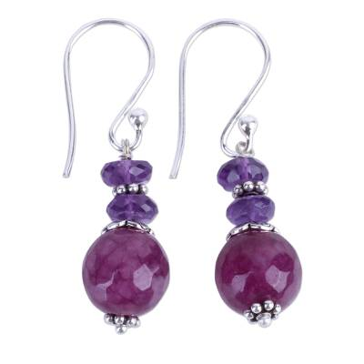 Indian Amethyst Agate and Sterling Silver Dangle Earrings