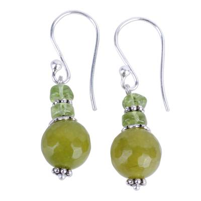 Agate Peridot and Sterling Silver Dangle Earrings from India
