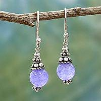 Agate dangle earrings, 'Magical Glow' - Sterling Silver Agate Earrings Handmade in India