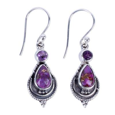 Unique Silver Earrings with Amethyst and Turquoise Jewelry