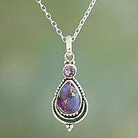 Amethyst pendant necklace, 'Mughal Lilac' - Silver Necklace with Amethyst and Composite Turquoise