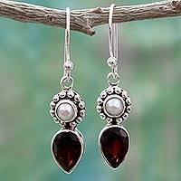 Cultured pearl and garnet dangle earrings, 'Scarlet Tear' - Silver Cultured Pearl Earrings with Garnet from India
