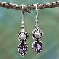 Cultured pearl and amethyst dangle earrings, 'Amethyst Tear' - Amethyst and Cultured Pearl Earrings in Sterling Silver