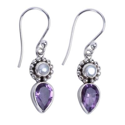 Amethyst and Cultured Pearl Earrings in Sterling Silver