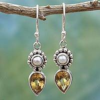Cultured pearl and citrine dangle earrings, 'Yellow Tear' - Sterling Silver Earrings with Citrine and Cultured Pearl