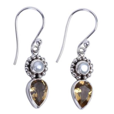 Sterling Silver Earrings with Citrine and Cultured Pearl