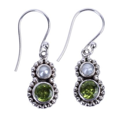 Petite Peridot and Cultured Pearl Silver Dangle Earrings