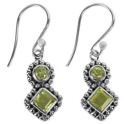 India Artisan Handcrafted Silver and Peridot Earrings