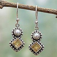 Cultured pearl and citrine dangle earrings, 'Kolkata Sparkle' - Citrine and Cultured Pearl Dangle Earrings in Silver 925