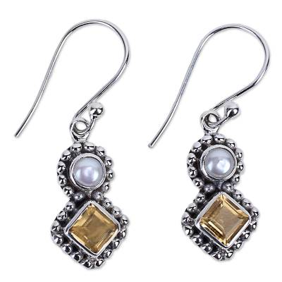 Citrine and Cultured Pearl Dangle Earrings in Silver 925