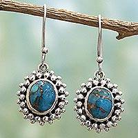 Sterling silver dangle earrings, 'Heavenly Mist' - Artisan Crafted Sterling Silver Composite Turquoise Earrings