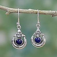 Lapis lazuli dangle earrings, 'Alluring Crescent' - Handmade Sterling Silver Lapis Lazuli Dangle Earrings India