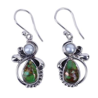 Green Turquoise and Cultured Pearl Dangle Earrings India