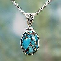 Sterling silver pendant necklace, 'Mystical Blue' - Blue Turquoise Sterling Silver Pendant Necklace India