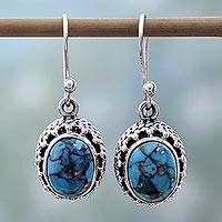 Sterling silver dangle earrings, 'Mystical Blue' - Hand Made Sterling Silver Earrings from India