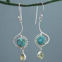 Citrine dangle earrings, 'Sunny Splendor' - Sterling Silver Composite Turquoise Dangle Earrings India