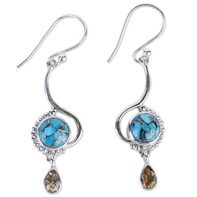 Sterling Silver Composite Turquoise Dangle Earrings India