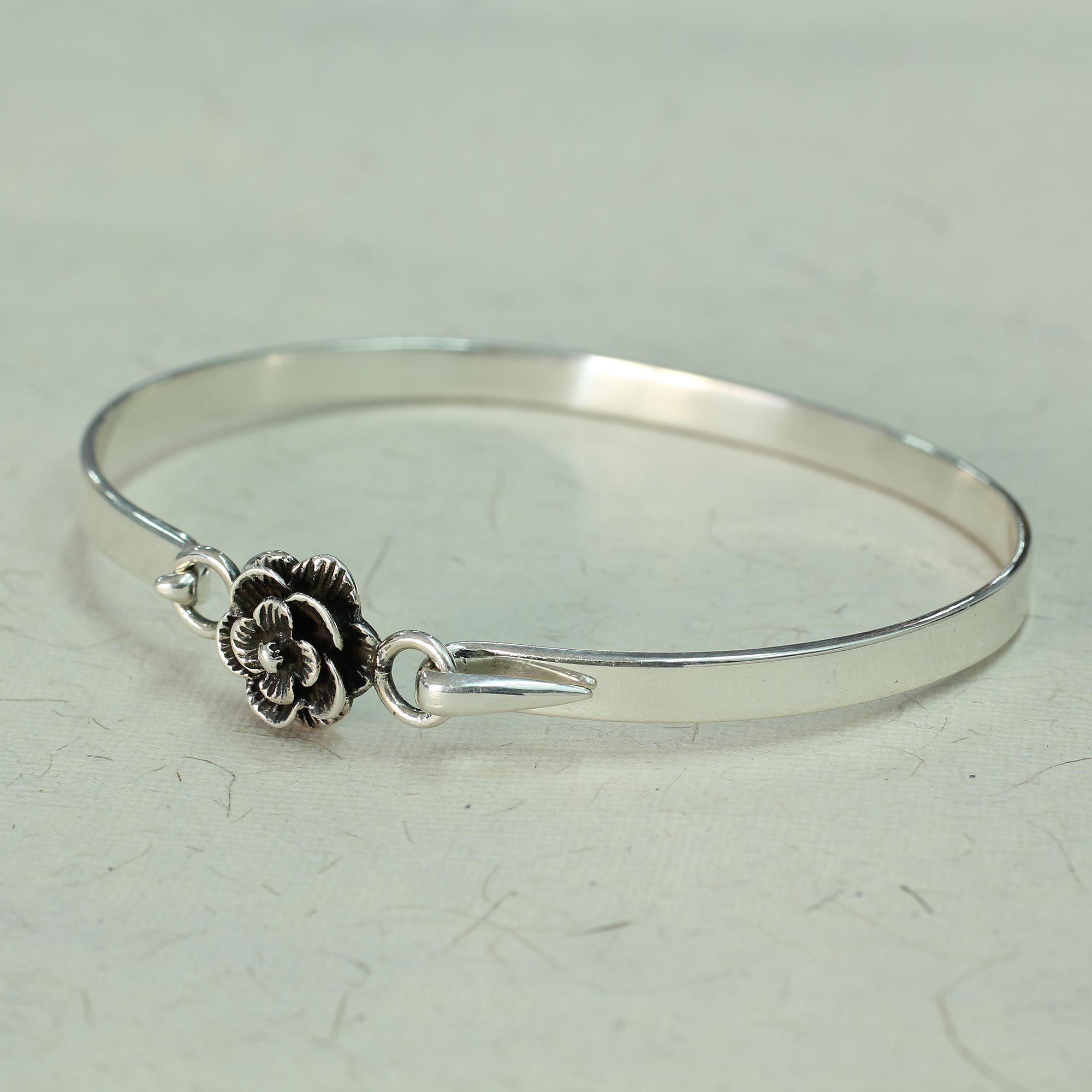 Hand Made Sterling Silver Rose Bracelet From India Beauty Novica