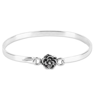 Hand Made Sterling Silver Rose Bracelet from India