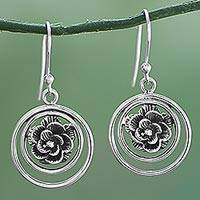 Sterling silver dangle earrings, 'Halo Rose' - Sterling Silver Rose Dangle Earrings from India