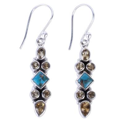 Citrine Dangle Earrings with Sterling Silver Made in India