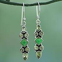 Peridot dangle earrings, 'Mesmerizing Shapes' - Sterling Silver Peridot Dangle Earrings from India