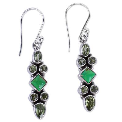 Sterling Silver Peridot Dangle Earrings from India