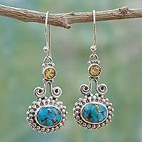 Citrine dangle earrings, 'Dream Drops' - Citrine and Composite Turquoise Earrings Handmade in India