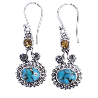 Citrine and Composite Turquoise Earrings Handmade in India