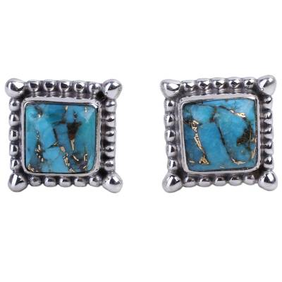 Composite Turquoise Stud Earrings Handmade in India