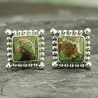 Sterling silver stud earrings, 'Magical Green' - Composite Green Turquoise Stud Earrings Handmade in India