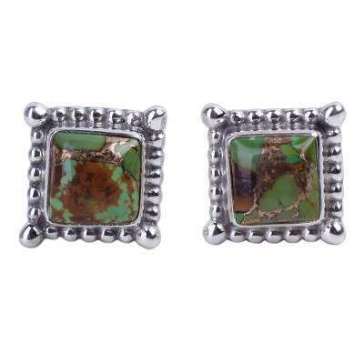 Composite Green Turquoise Stud Earrings Handmade in India
