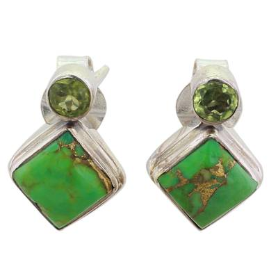 Indian Peridot Earrings with Composite Green Turquoise